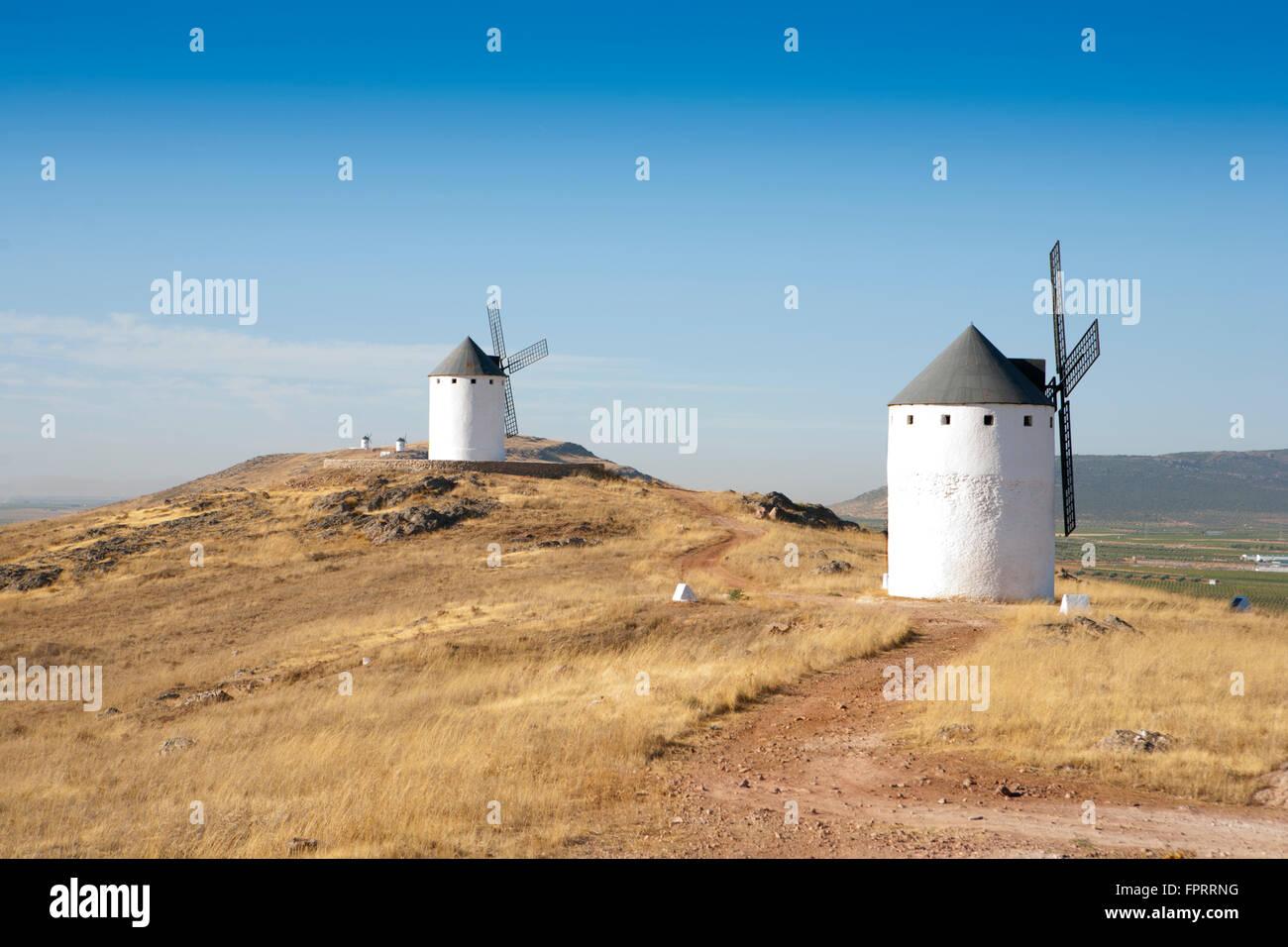 Europe, Spain, Castile-La Mancha, Campo de Criptana, windmills on a hill near Campo de Criptana, Don Quixote windmills, - Stock Image