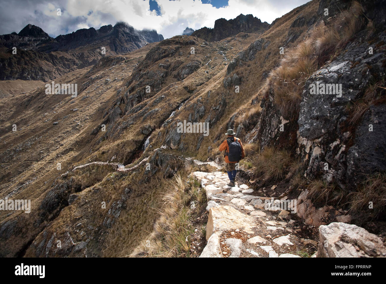 Geography/travel, Americas, South America, Peru, Andes, Inca road to Choquequirao, hiker on the road Stock Photo