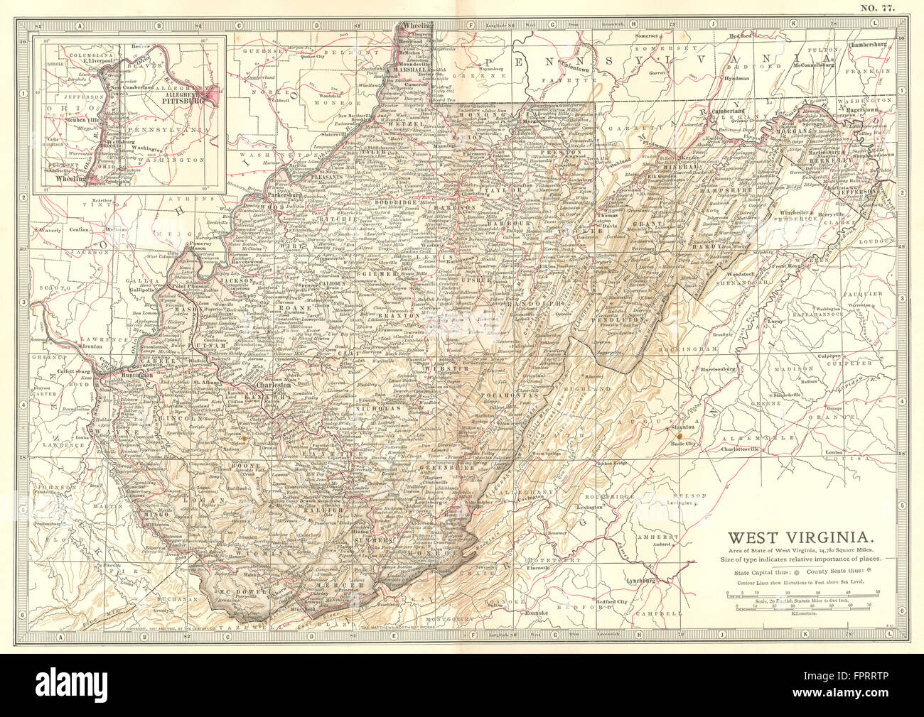 West Virginia State Map Showing Stock Photos & West Virginia State ...
