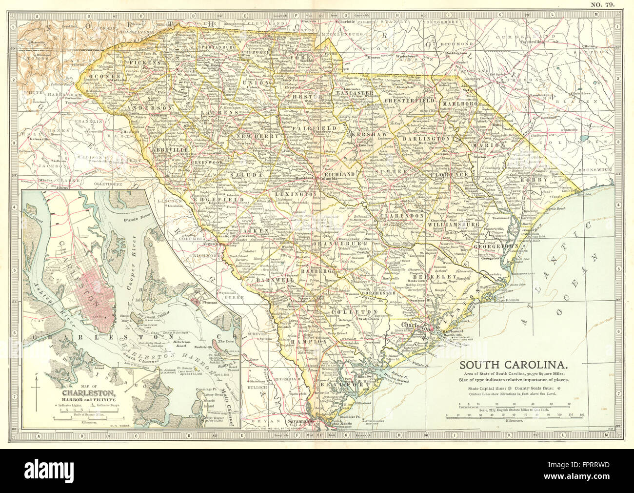 SOUTH CAROLINA: State map shows Civil War battlefields.Inset Stock ...