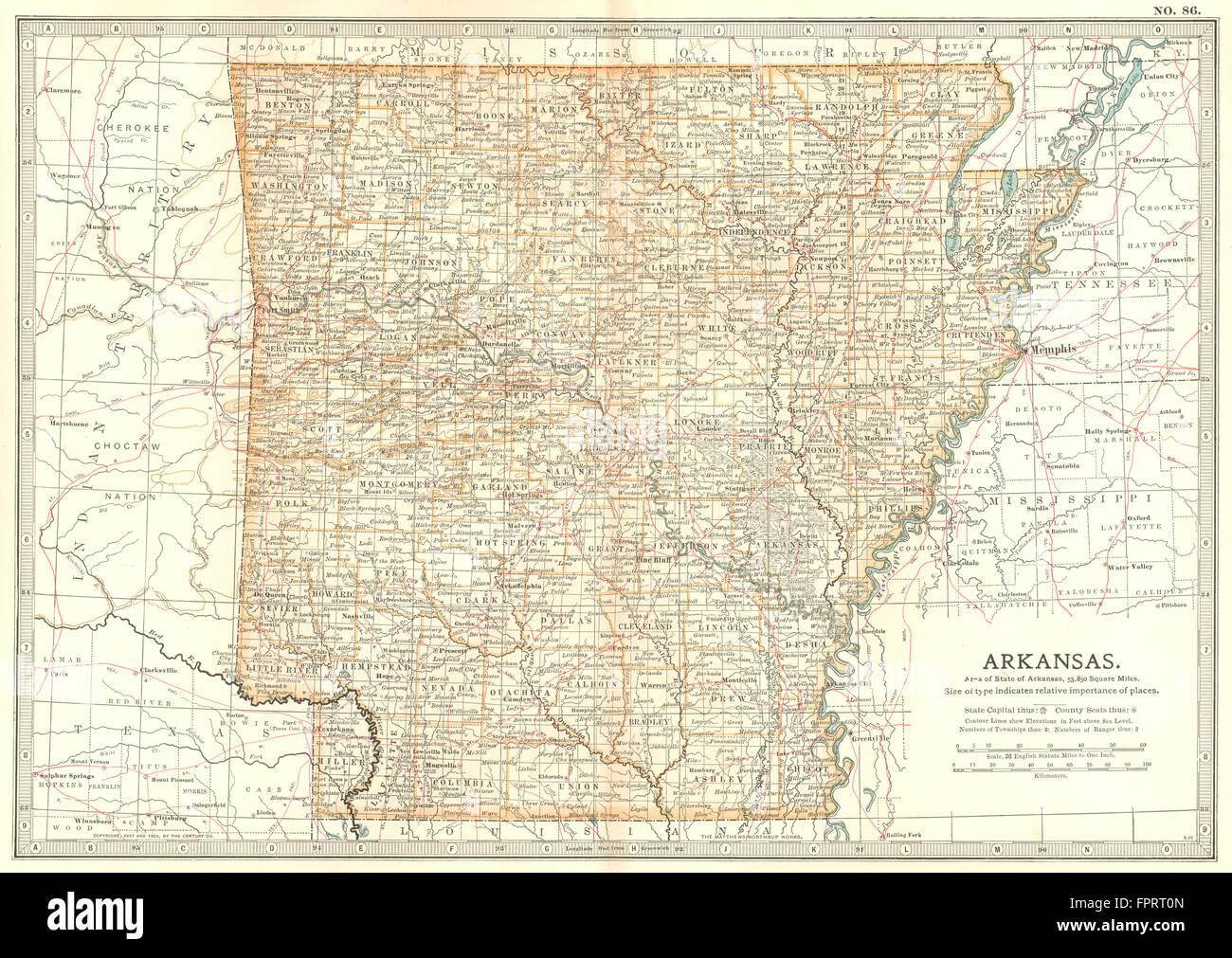 ARKANSAS: State map showing counties & civil war ...