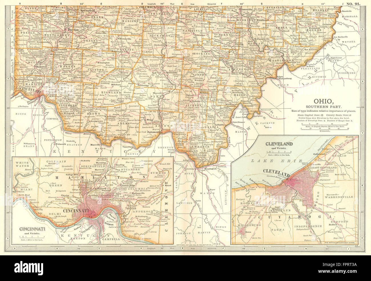 OHIO SOUTH: State map showing counties. Inset Cincinnati & Cleveland on