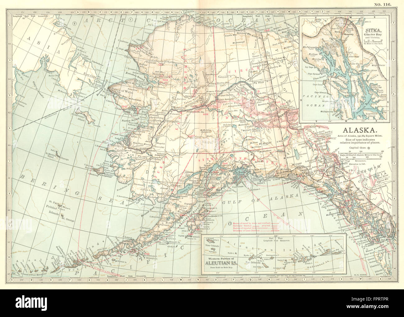 ALASKA: Showing boroughs. Inset Aleutian Isles, Sitka ...
