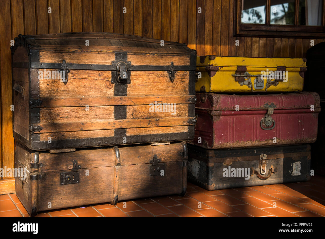 Vintage luggage, Coach house, Tzaneen, Limpopo, South Africa, Africa - Stock Image
