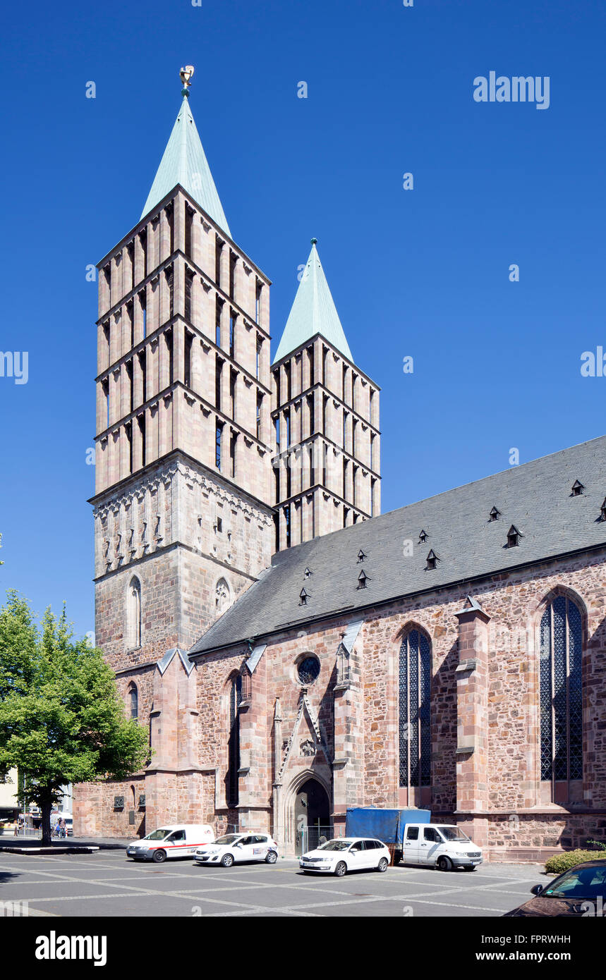 St. Martin's church with towers rebuilt in 1958, Kassel, Hesse, Germany - Stock Image