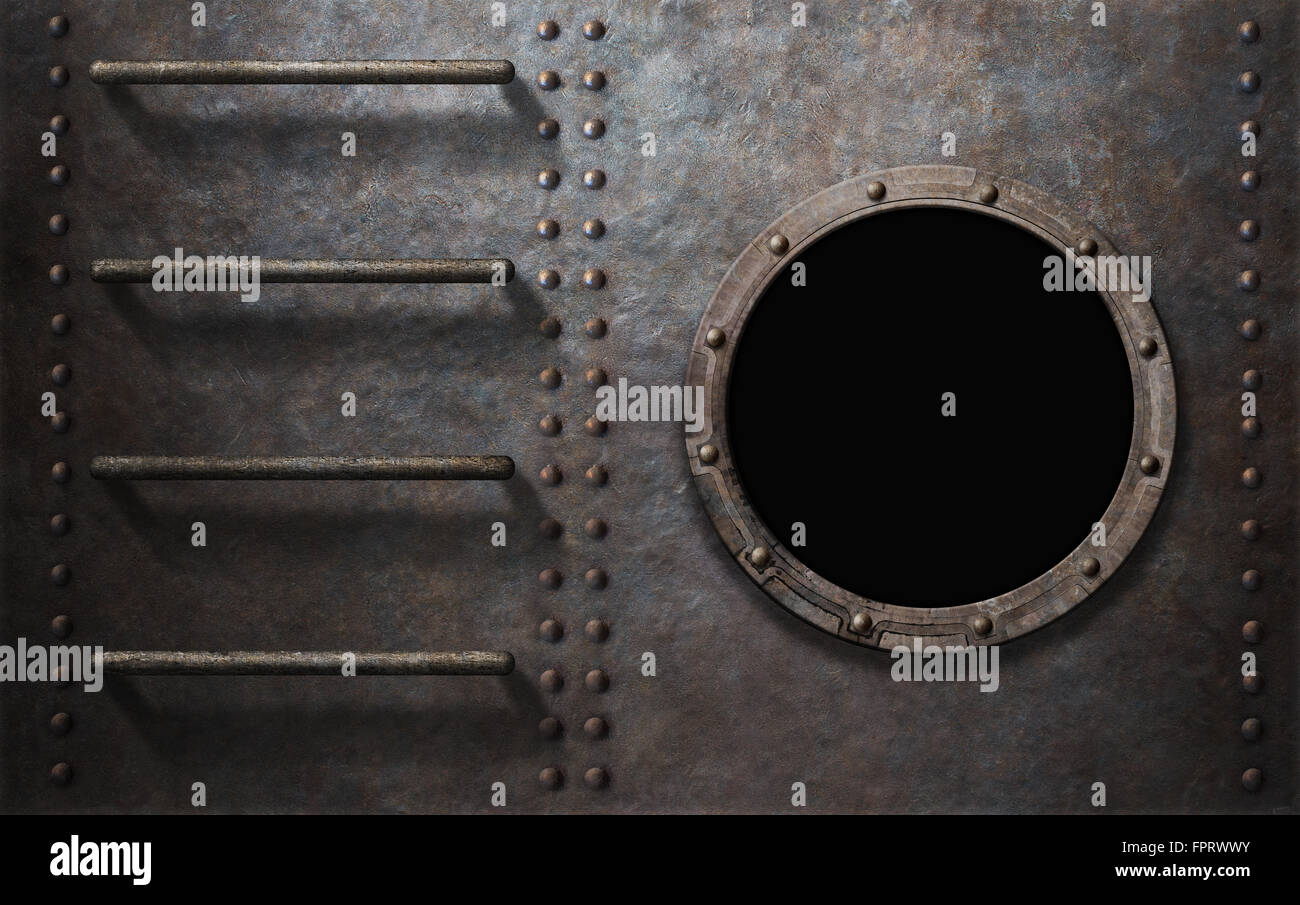 metal submarine or ship side with stairs and porthole - Stock Image