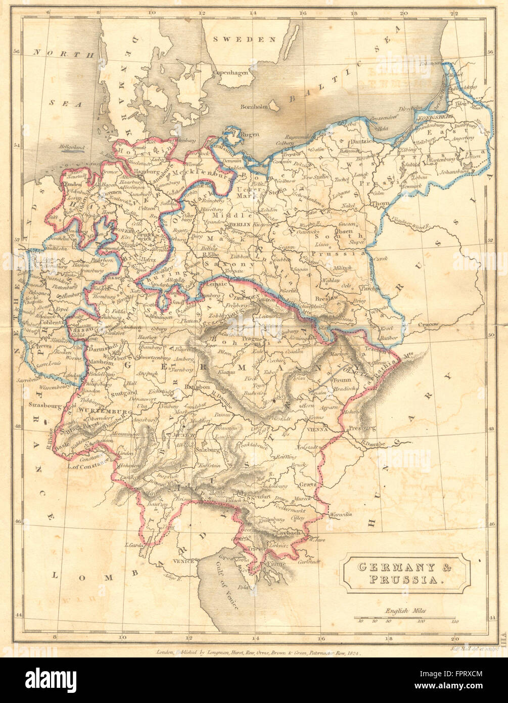 Germany Prussia Hall 1850 Antique Map Stock Photo 100099908