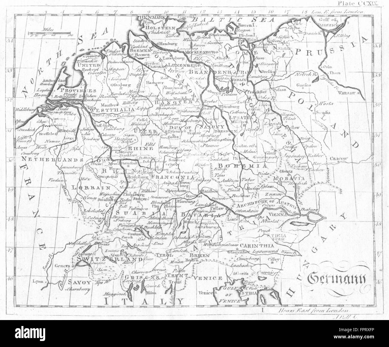 GERMANY: Bell, 1798 antique map Stock Photo
