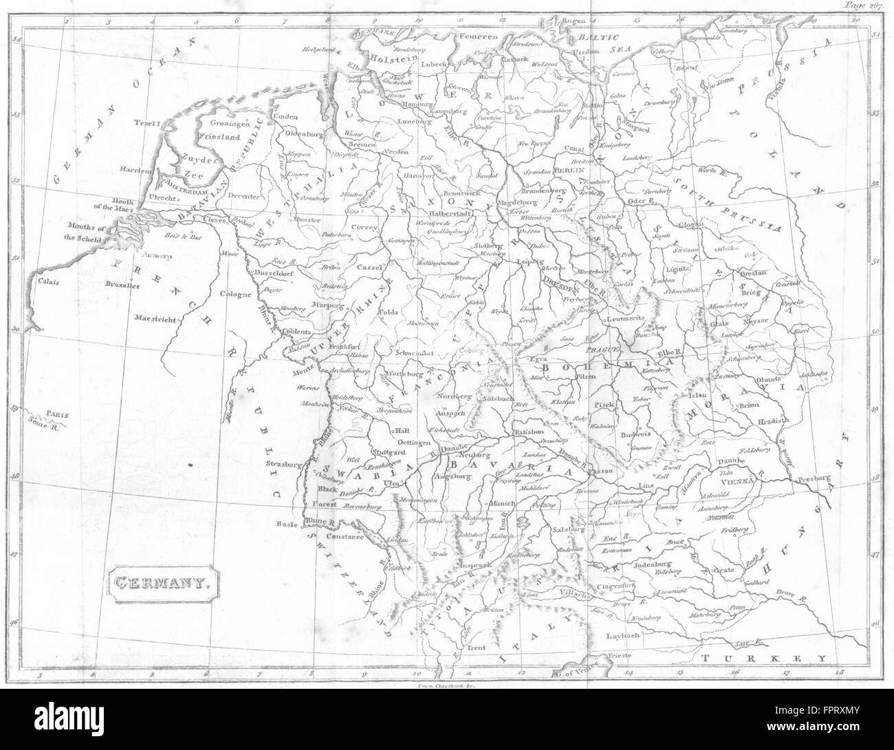 GERMANY: PINKERTON, 1811 antique map - Stock Image