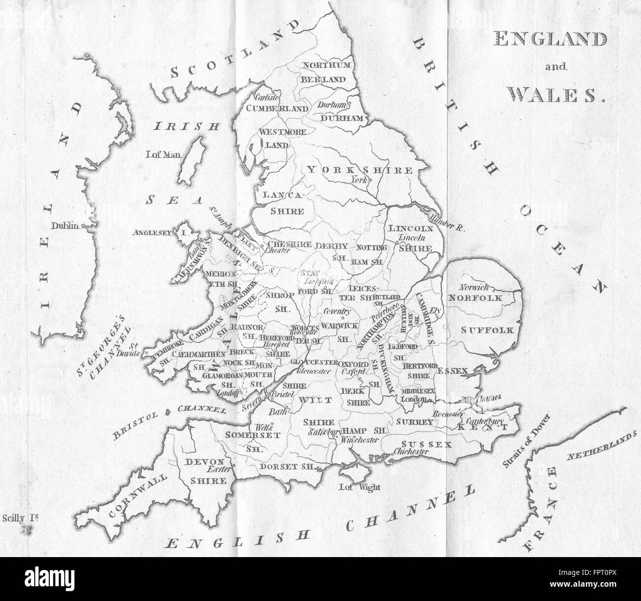 ENGLAND WALES: AIKIN: (5th Edition), 1803 antique map - Stock Image
