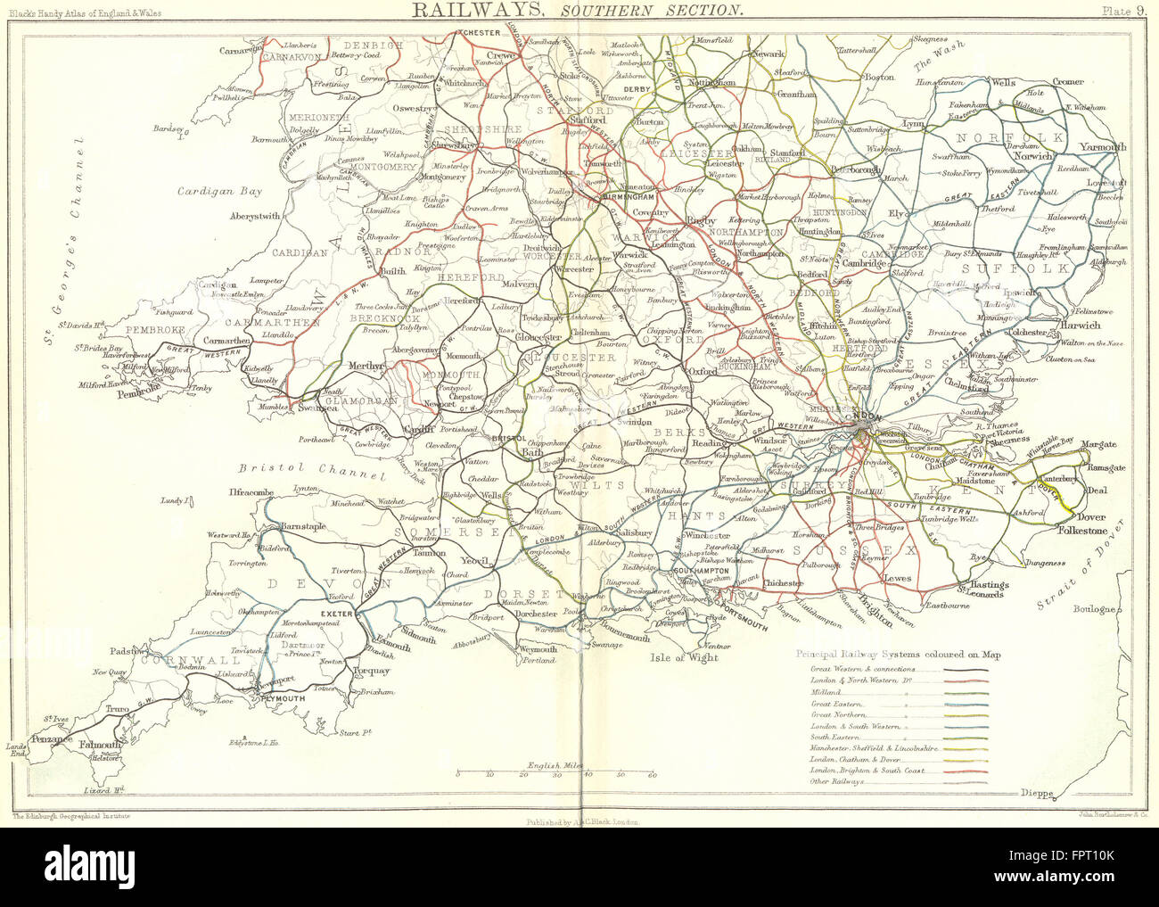 Map Of South England.Uk Railways South England Wales Black 1892 Antique Map