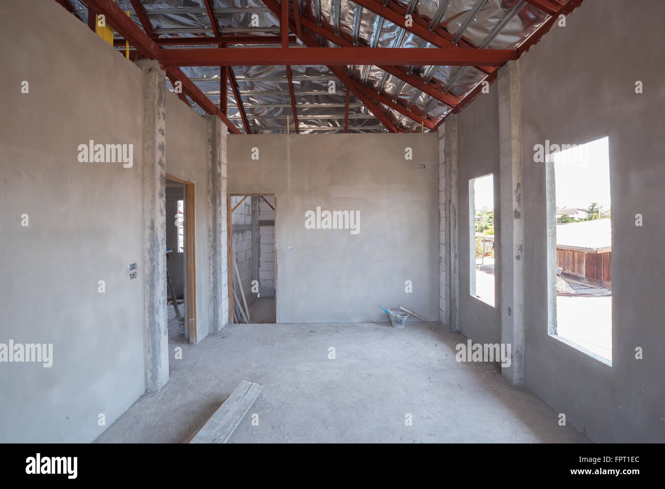 unfinished room of inside house under construction Stock ...