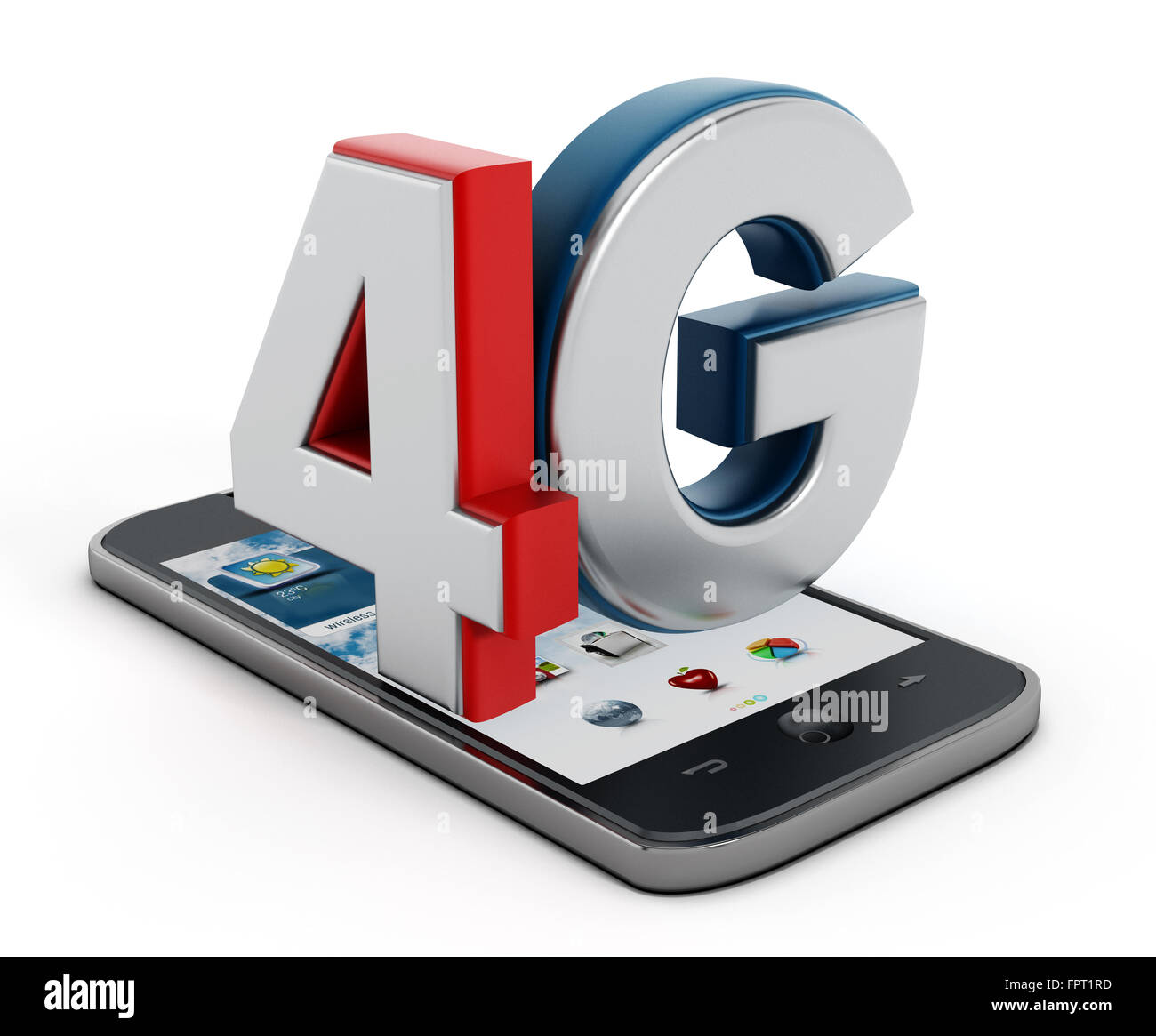 4G text on smartphone isolated on white background - Stock Image