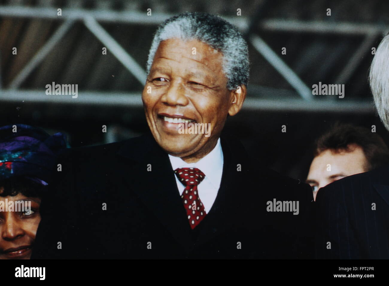 Nelson Mandela at his visit in Bonn 1990 - Stock Image