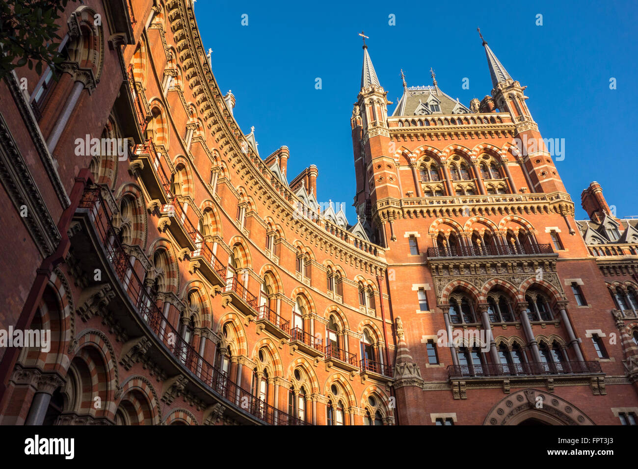 Exterior of Victorian Gothic style St Pancras Hotel or Midland Hotel by George Gilbert Scott, London, UK - Stock Image