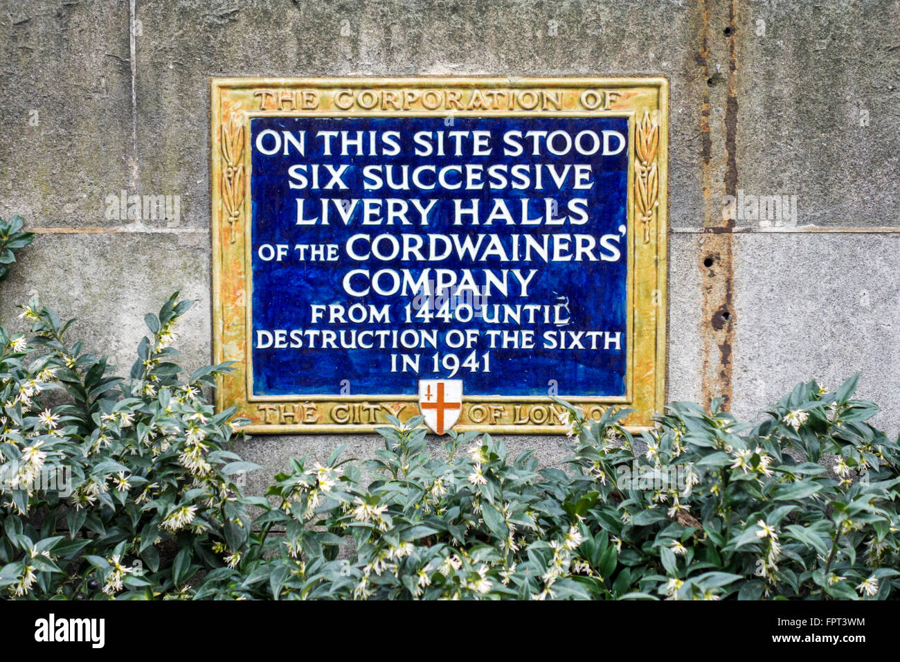 Plaque showing the site of siz Livery Halls of the Cordwainers' Company 1440 - 1941, City of London, UK - Stock Image