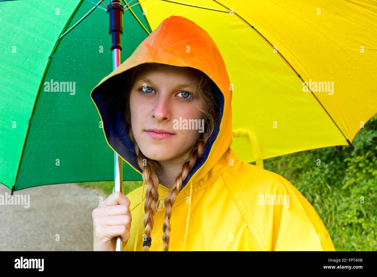 Thoughtful girl in the rain - Stock Image