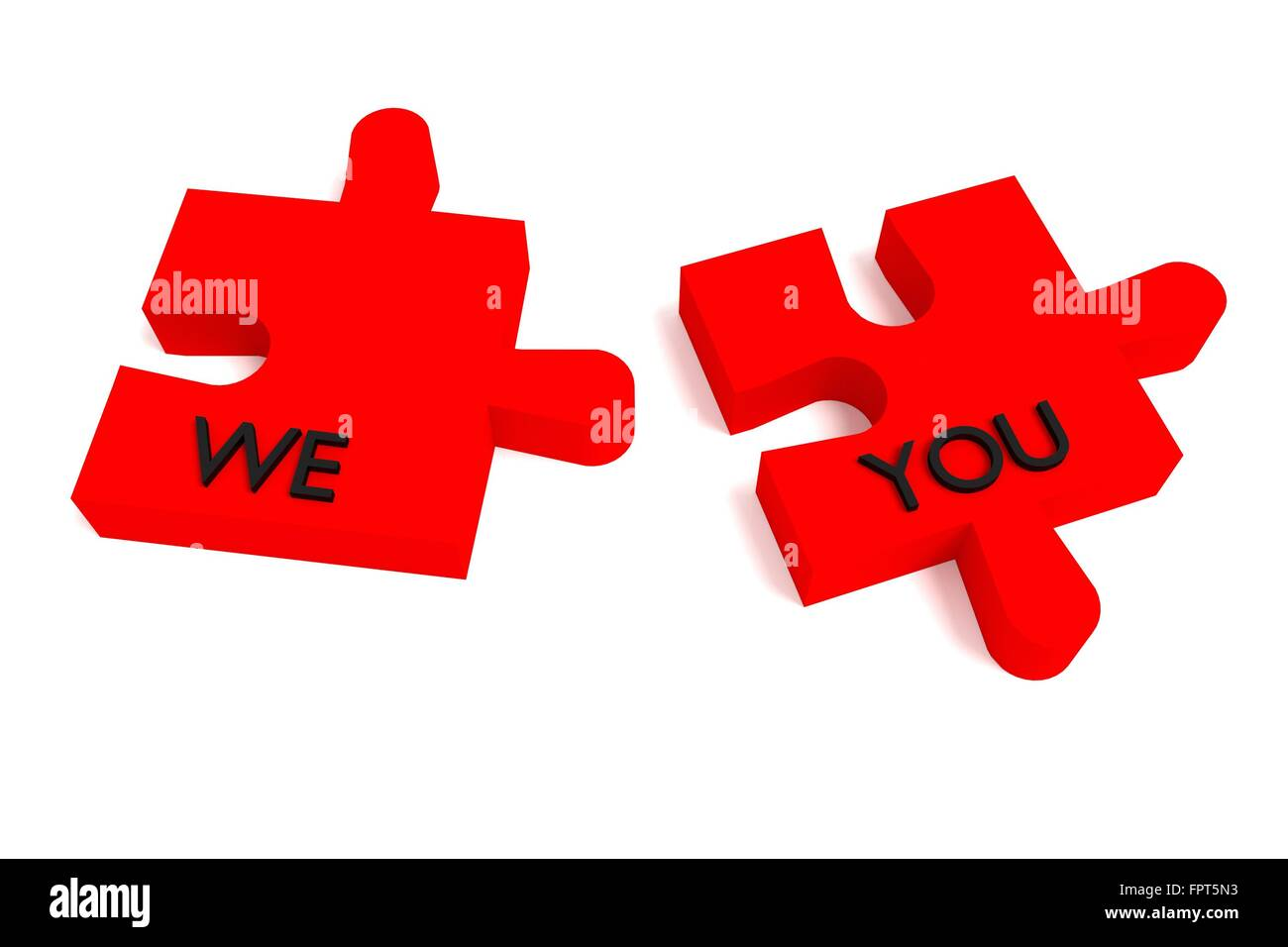 Red Puzzle, we and you on white background - Stock Image
