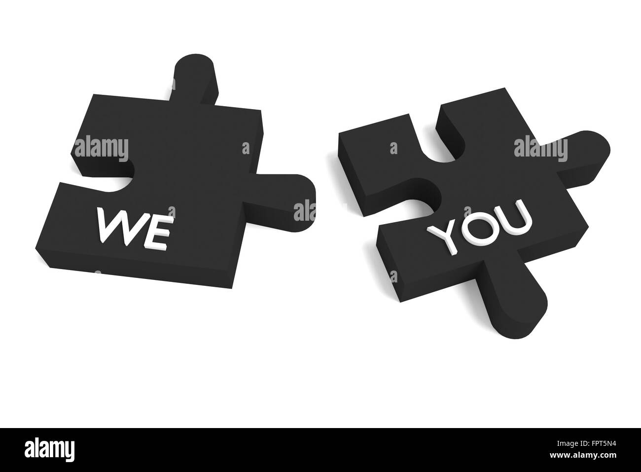 Black Puzzle, we and you on white background - Stock Image