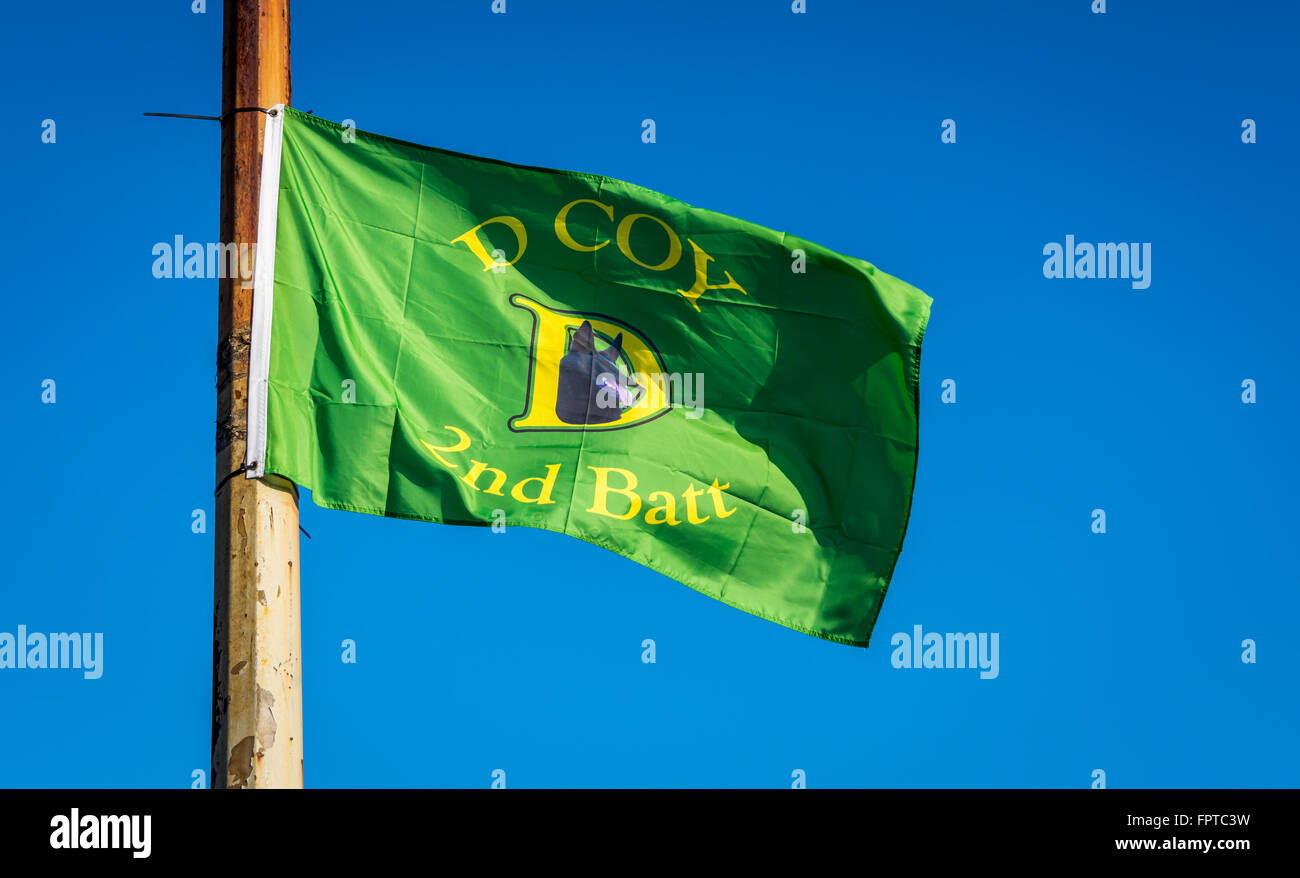 IRA D Company flag flies in Lower Falls Road area for Easter commemorations. Stock Photo