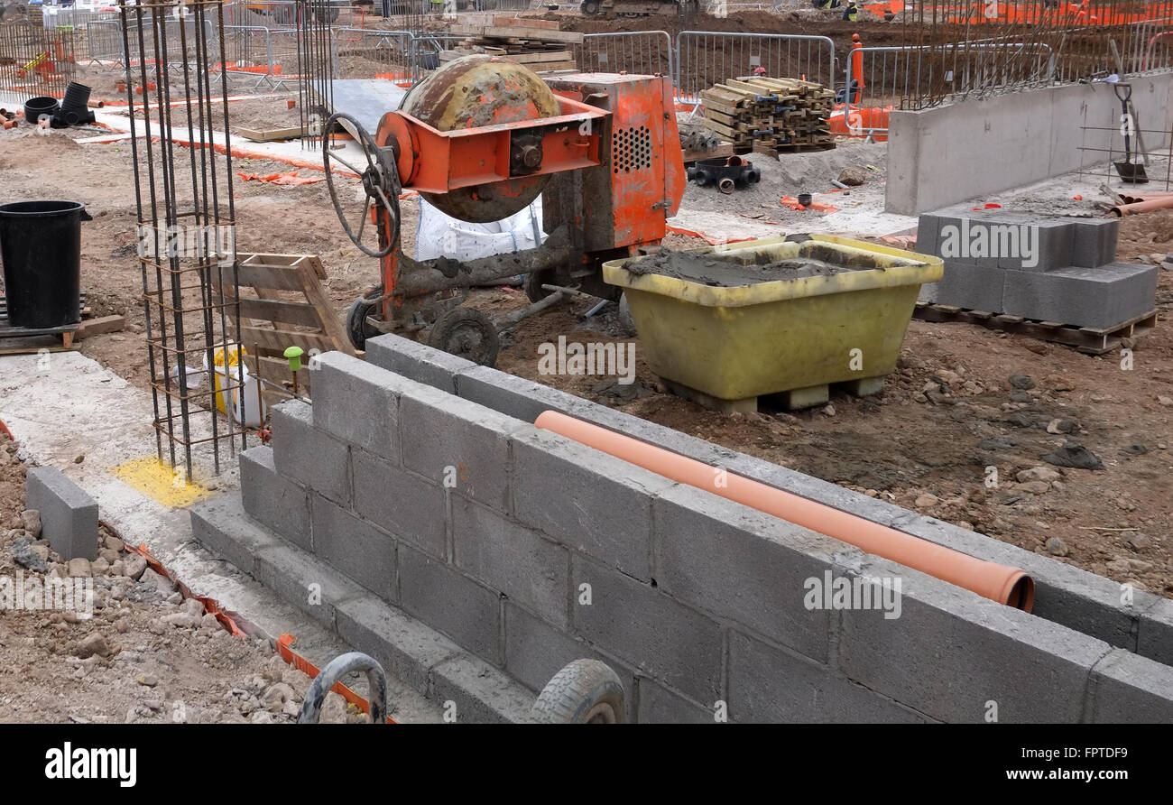 Substructure blockwall under  construction February 2016 - Stock Image
