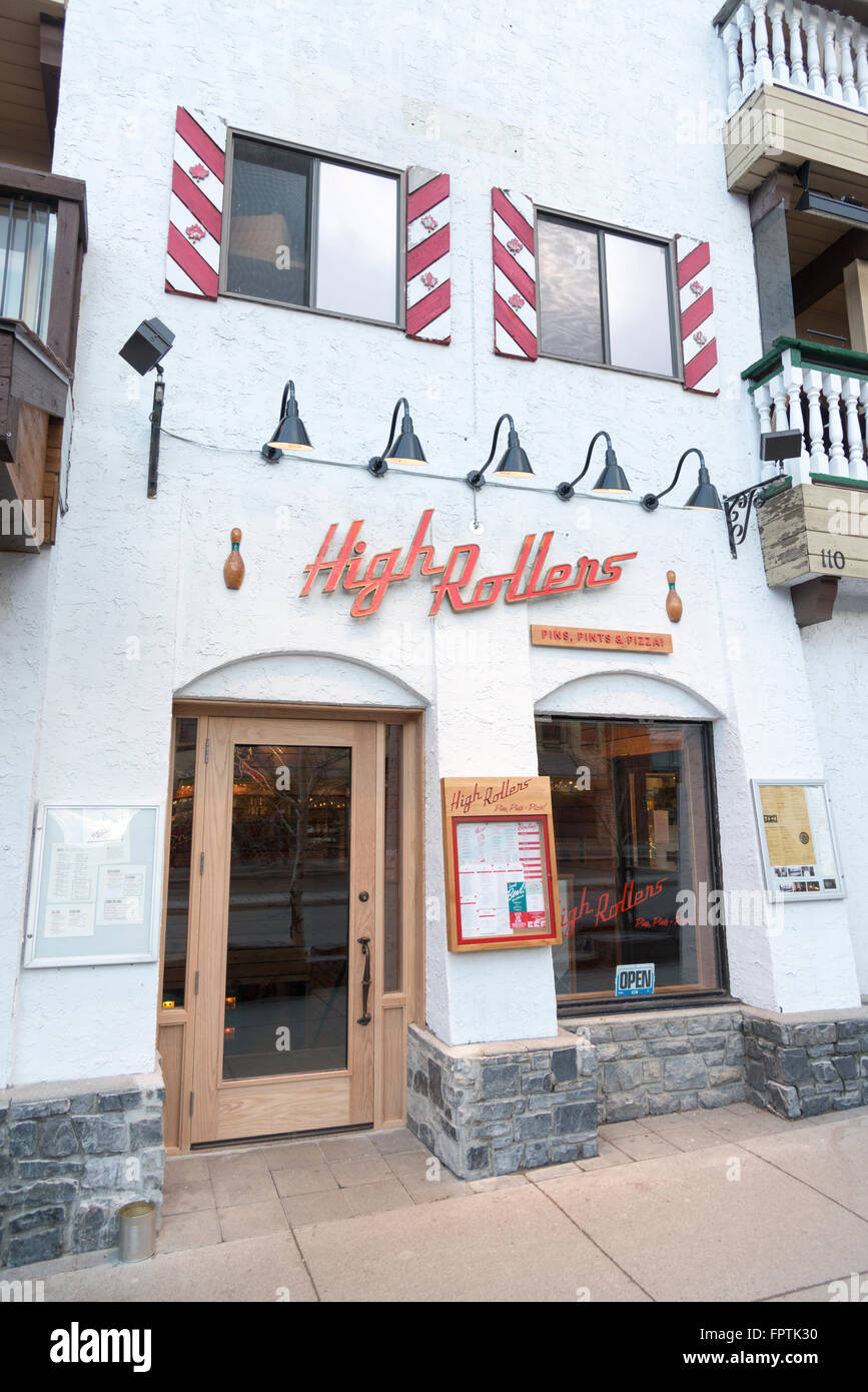 High Rollers bar, restaurant and bowling alley Banff Canada - Stock Image