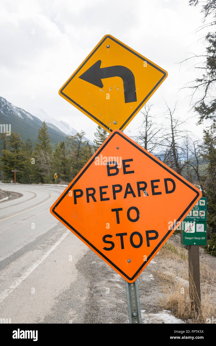 Be prepared to stop road sign Canada - Stock Image