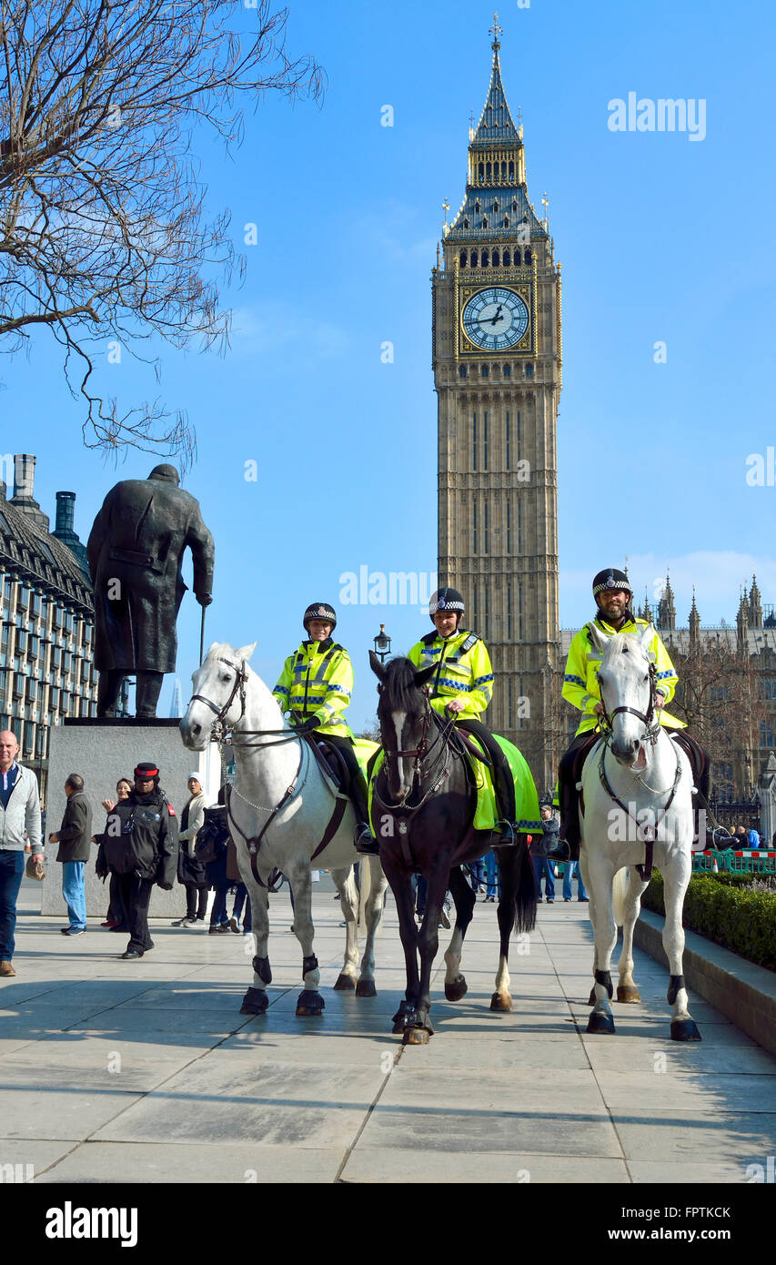 London, England, UK. Mounted police officers in Parliament Square, Westminster - Big Ben behind - Stock Image