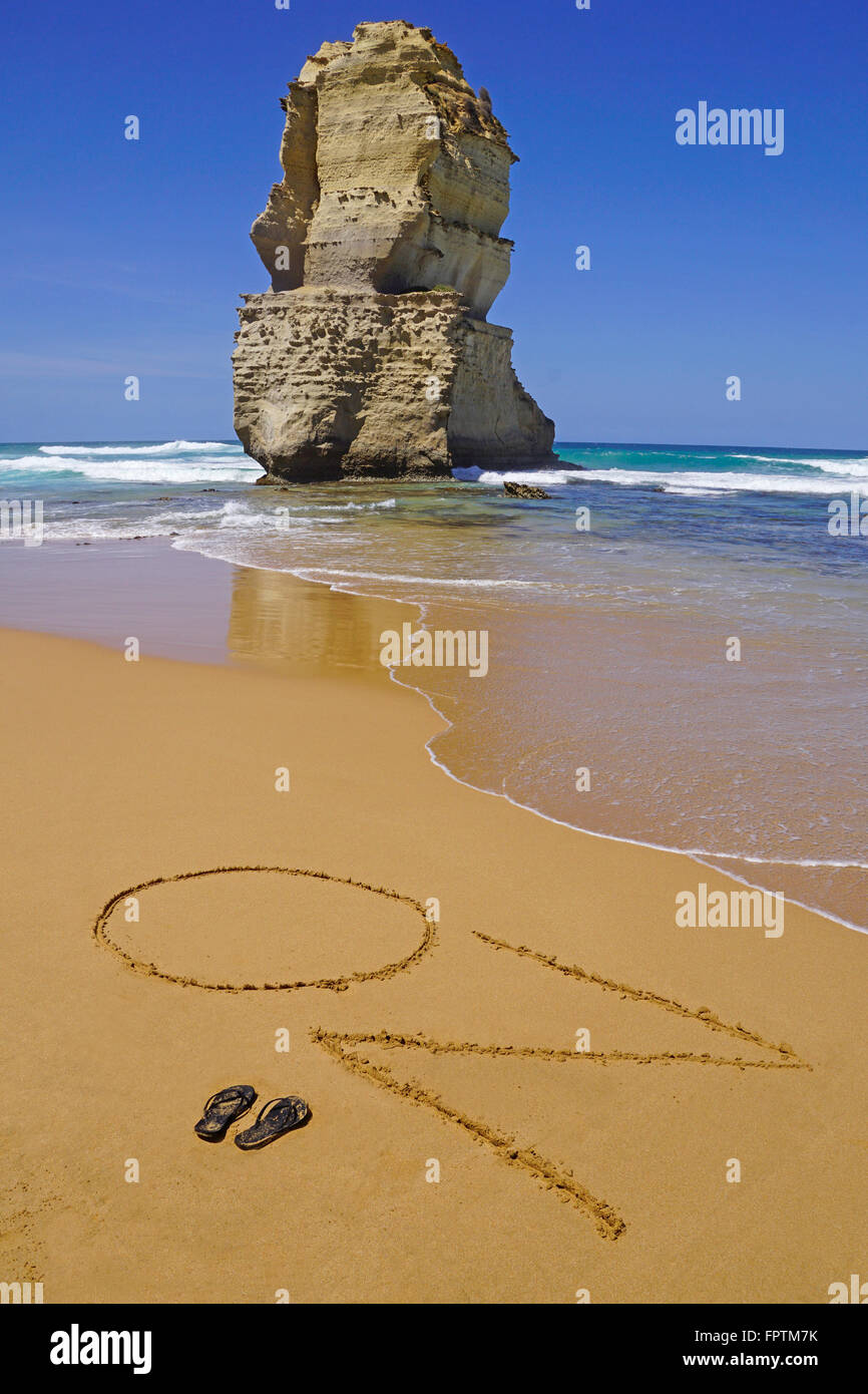 Beach OZ sign at 12 Apostles. - Stock Image