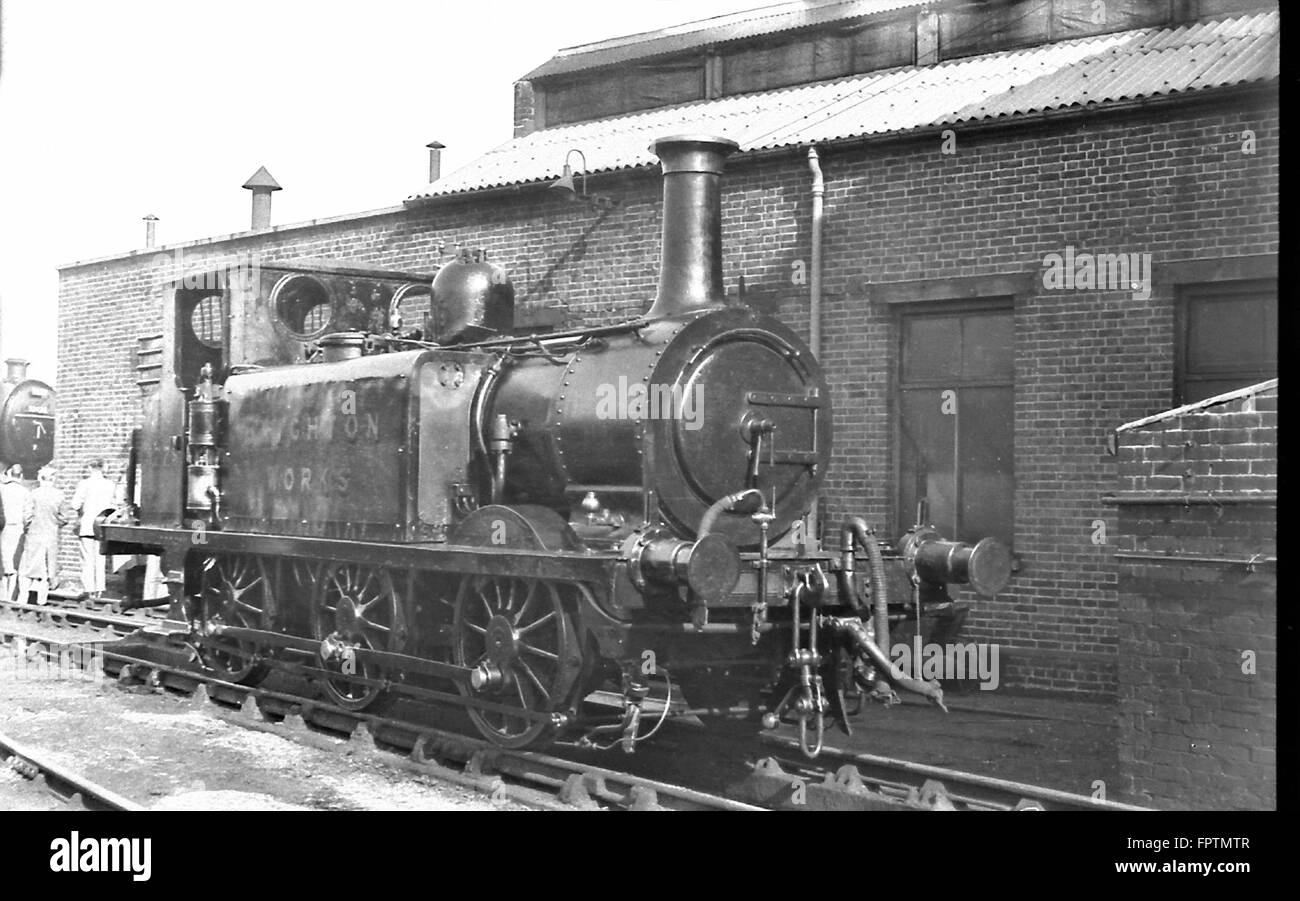 LBSCR A1X 0-6-0T steam locomotive 377S (formerly No.35 Morden) as Brighton Works shunter in October 1952 Stock Photo