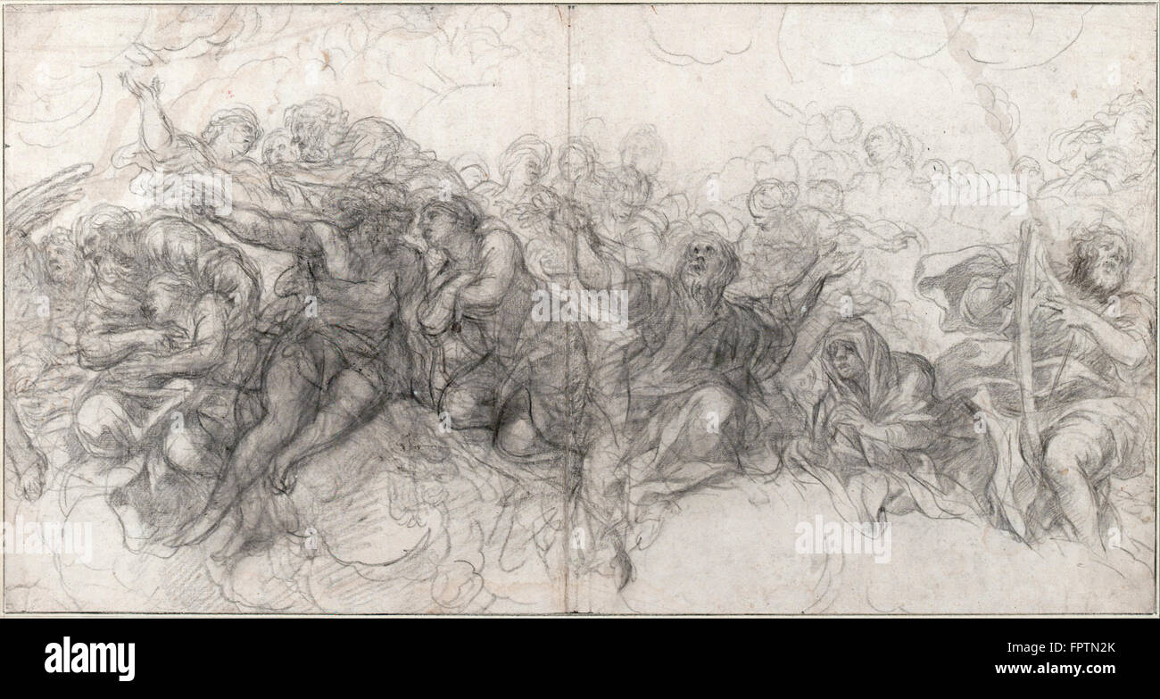 Pietro da Cortona  Abraham and Isaac, Adam and Eve, Noah and on the Right Edge, David with a Harp - Stock Image