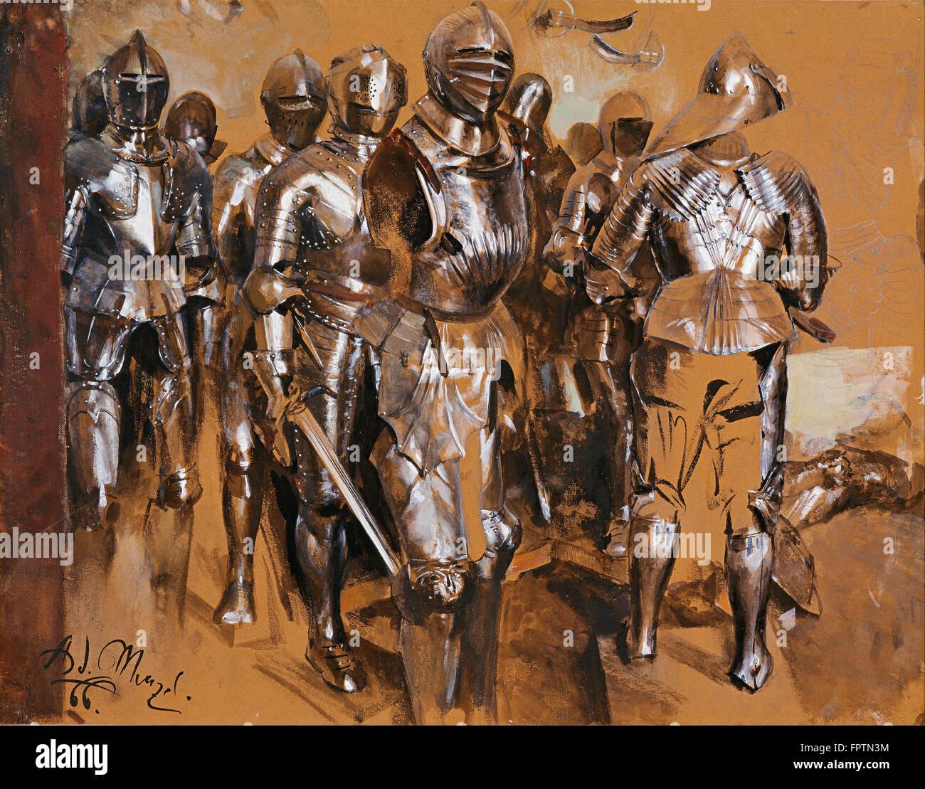 Adolf Menzel - Armor Chamber Fantasy 1866 Stock Photo