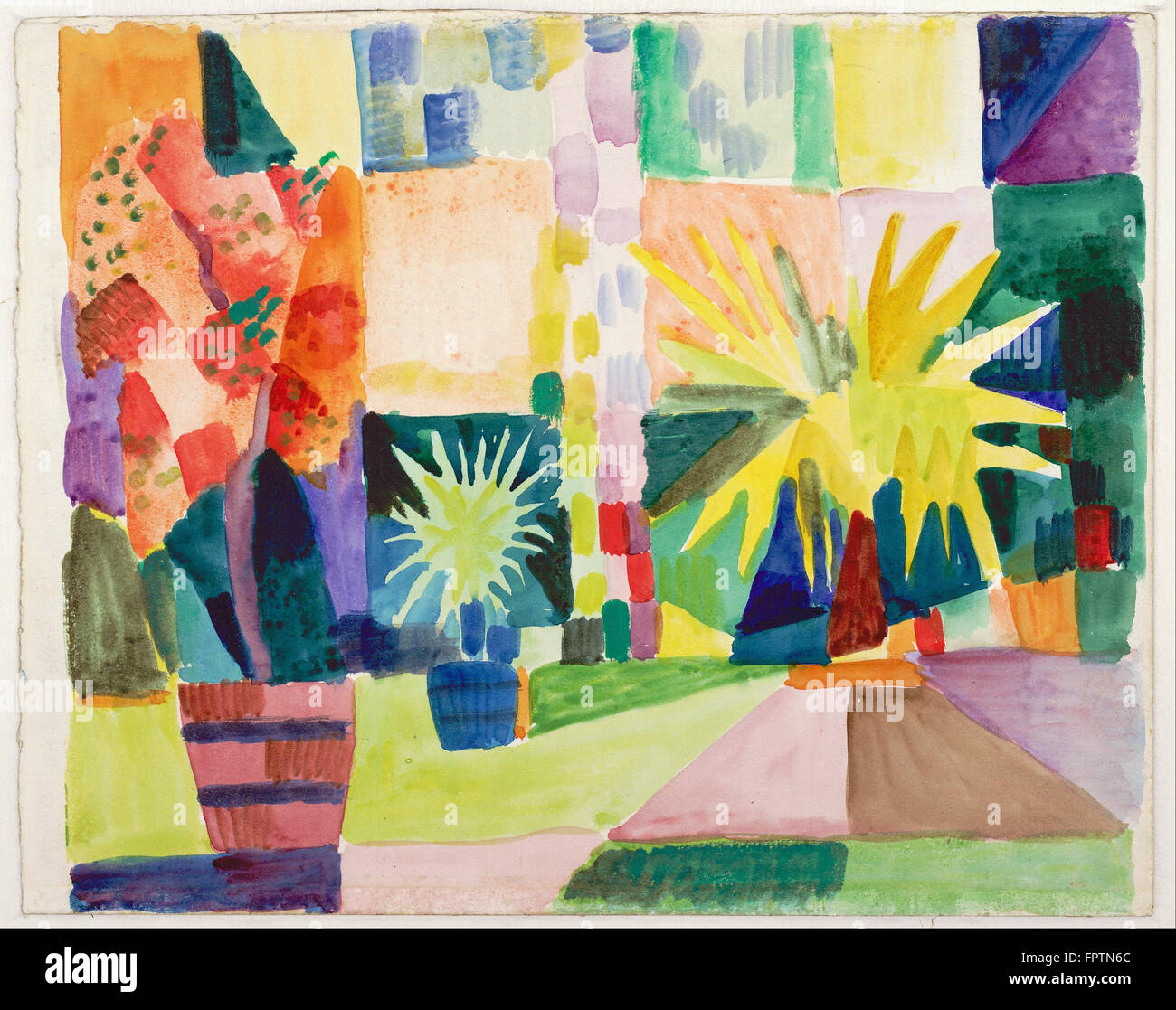 August Macke - Garden on Lake Thun (Pomegranate Tree and Palm in the Garden) -  1914 - Stock Image