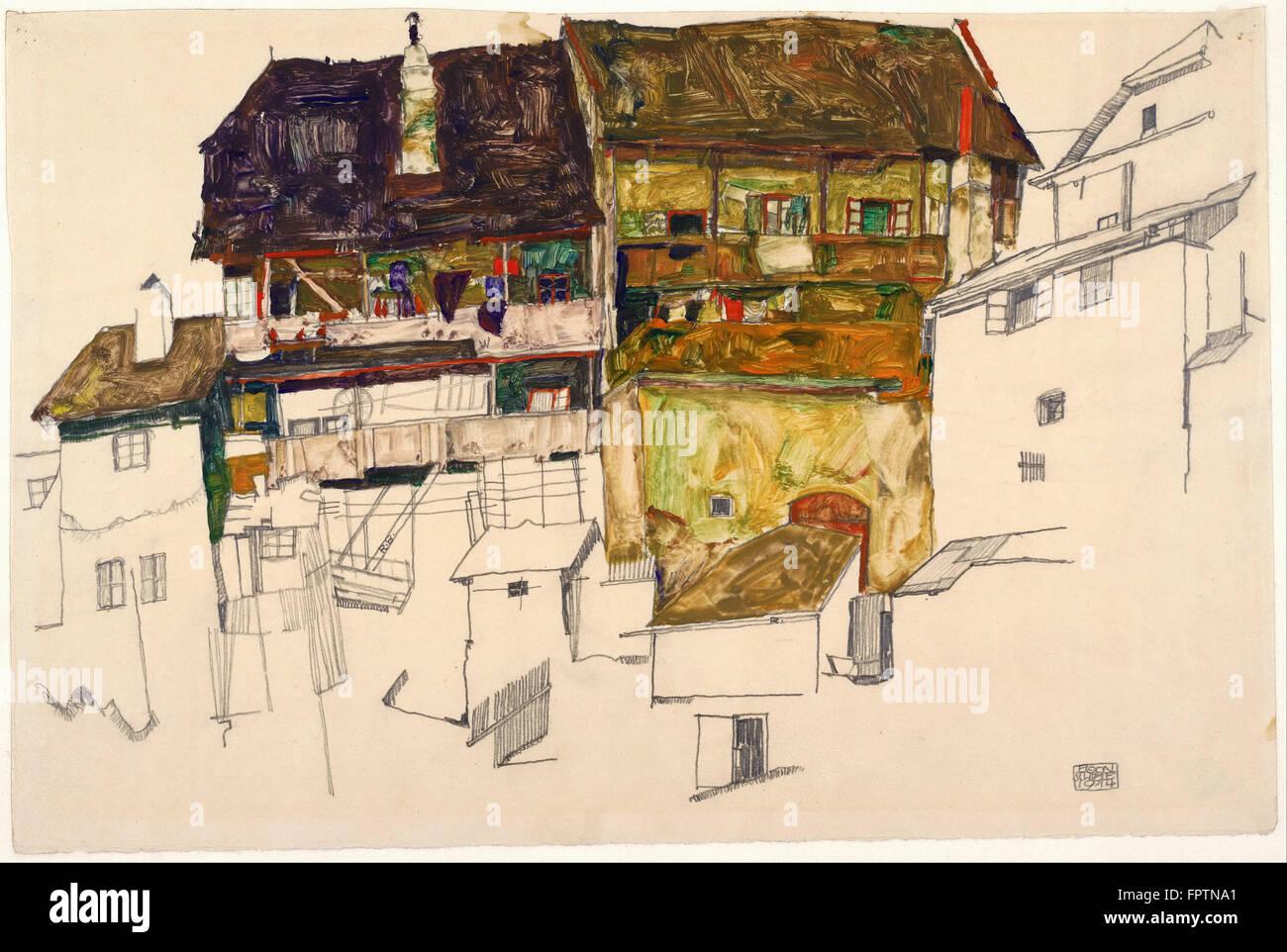 Egon Schiele - Old Houses in Krumau -  1914 - Stock Image