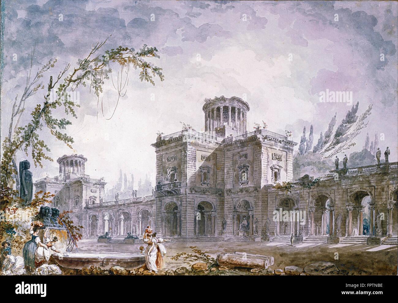 Hubert Robert - Architectural Fantasy -  1760 - Stock Image