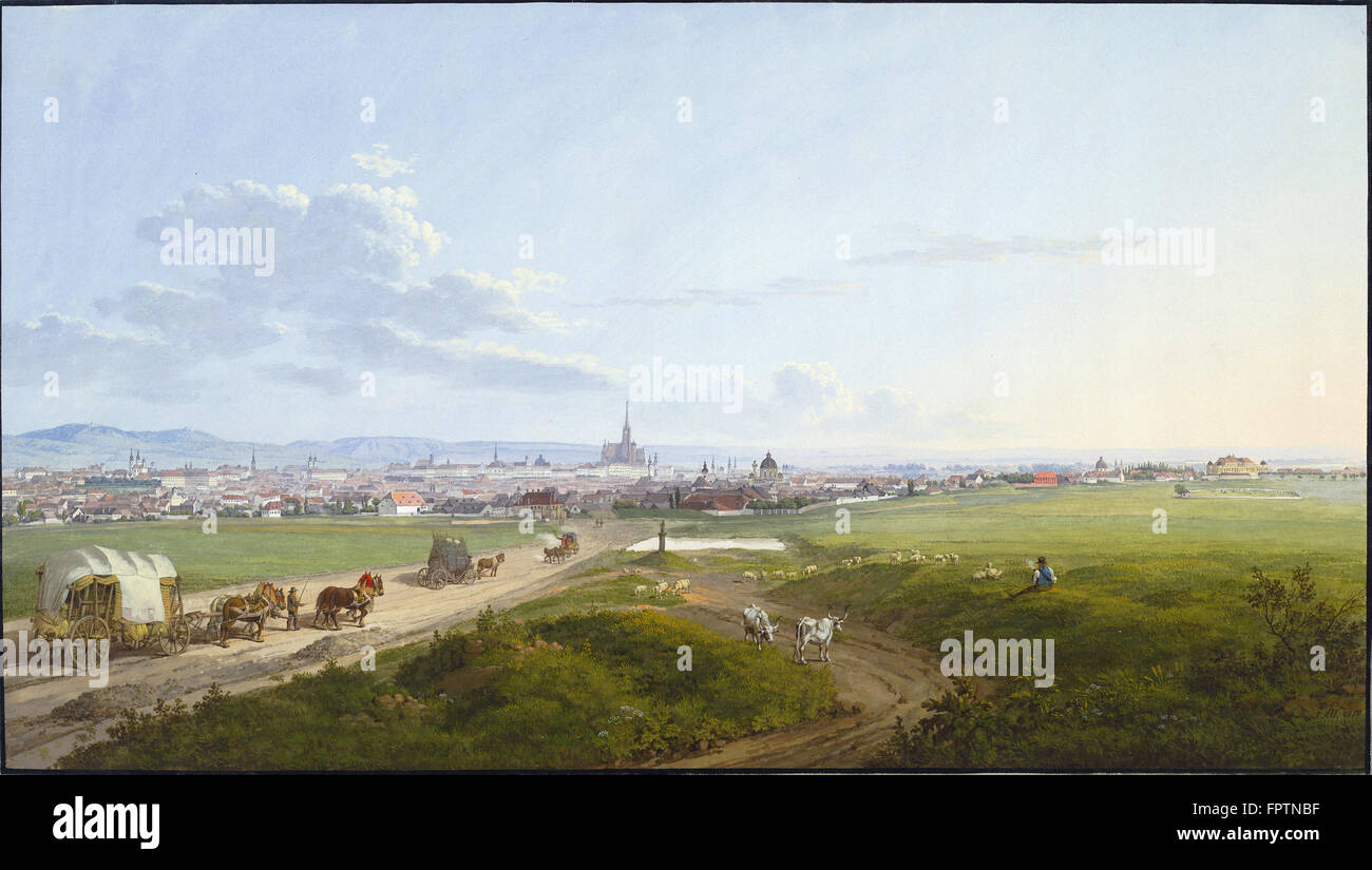 Jakob Alt - View of Vienna from the Spinner on the Cross -  1817 - Stock Image