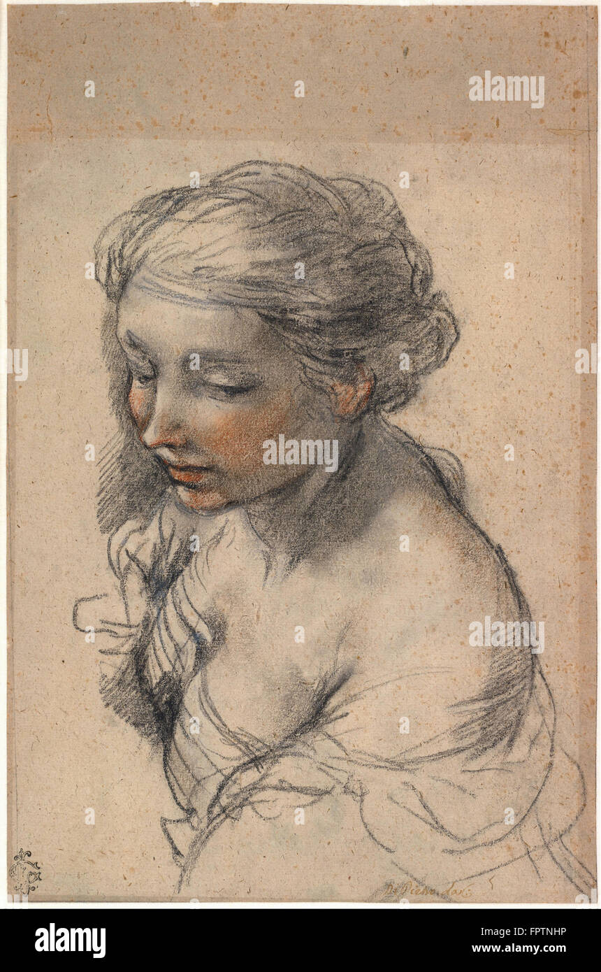 Pietro da Cortona - Bust of a Young Woman Turned to the Left -  1637 - Stock Image