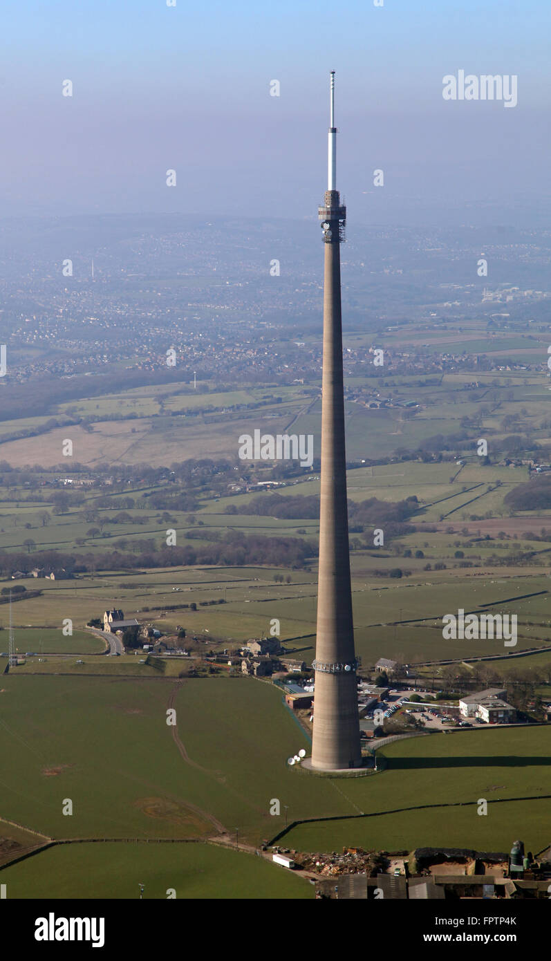 aerial view of Emley Moor TV mast aerial transmitter in West Yorkshire, UK - Stock Image