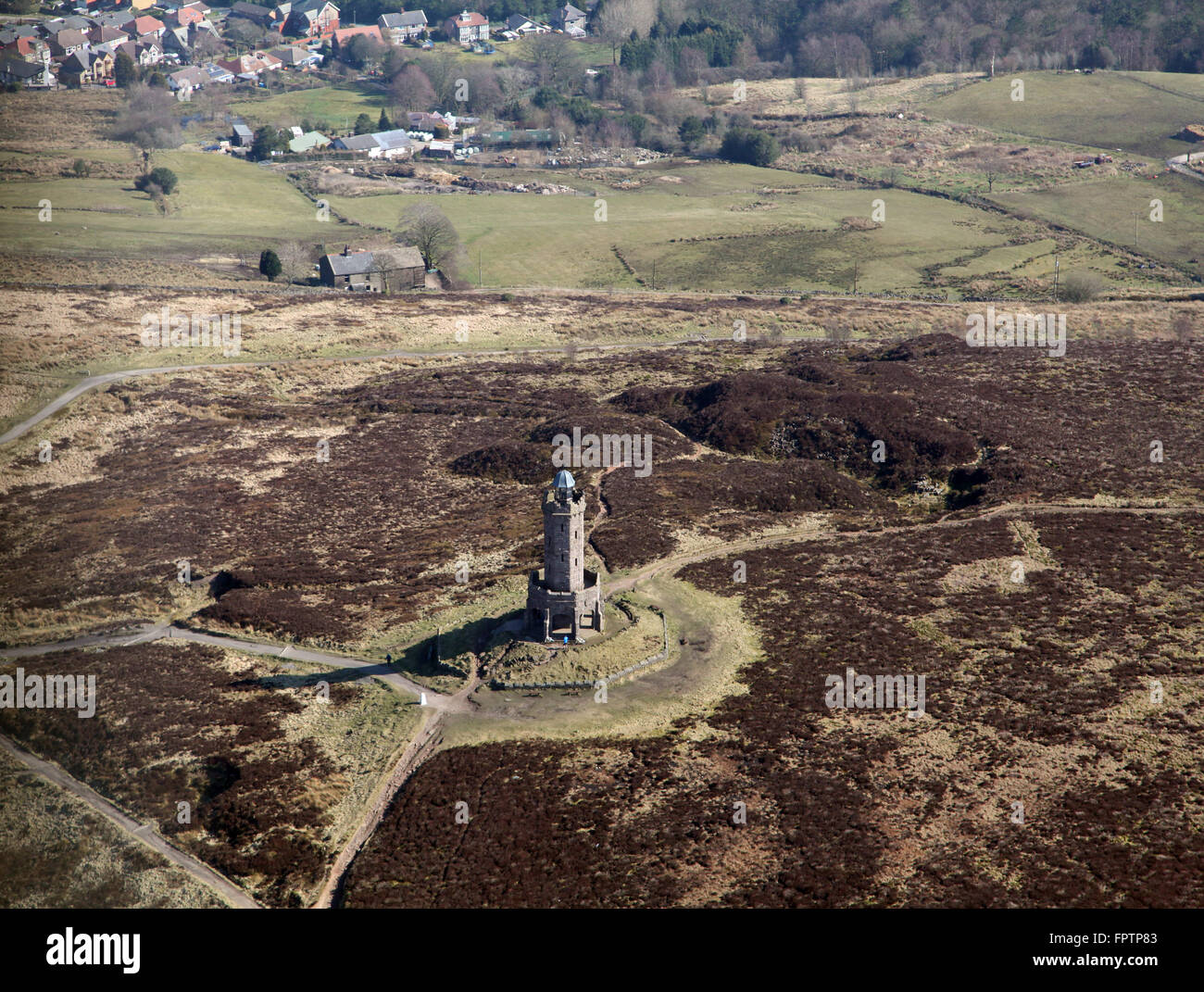aerial view of the Darwen Tower on Beacon Hill in Lancashire, UK - Stock Image