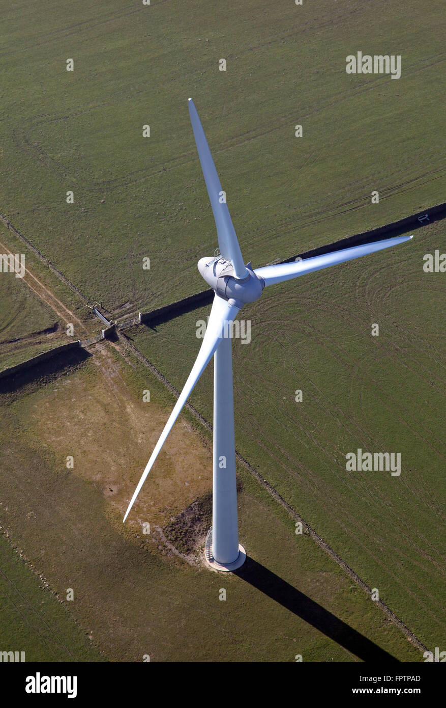 aerial view of an electricity generating wind turbine in the north of England, UK - Stock Image