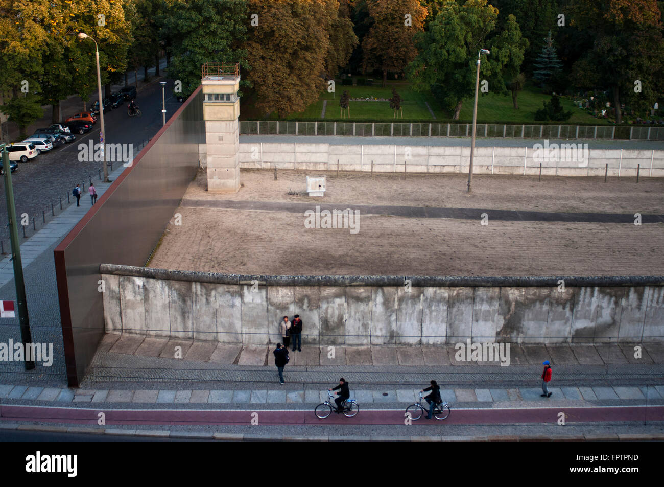 The Berlin Wall at Bernauerstrasse. The Berlin wall memorial in the Bernauerstraße. The Berlin Wall Memorial - Stock Image