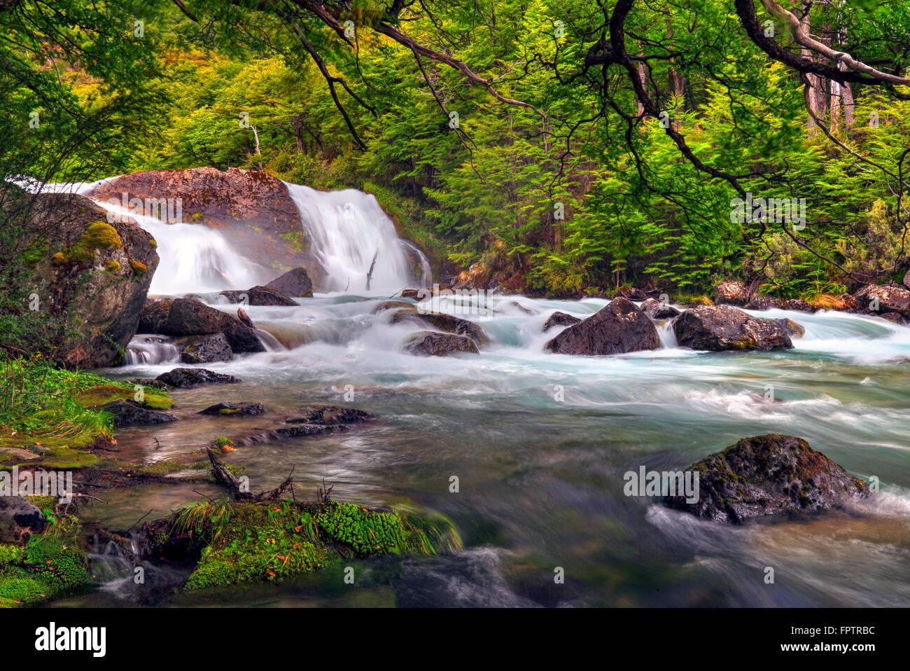 River and waterfall at El Chalten surrounduings. Santa Cruz Argentina. - Stock Image