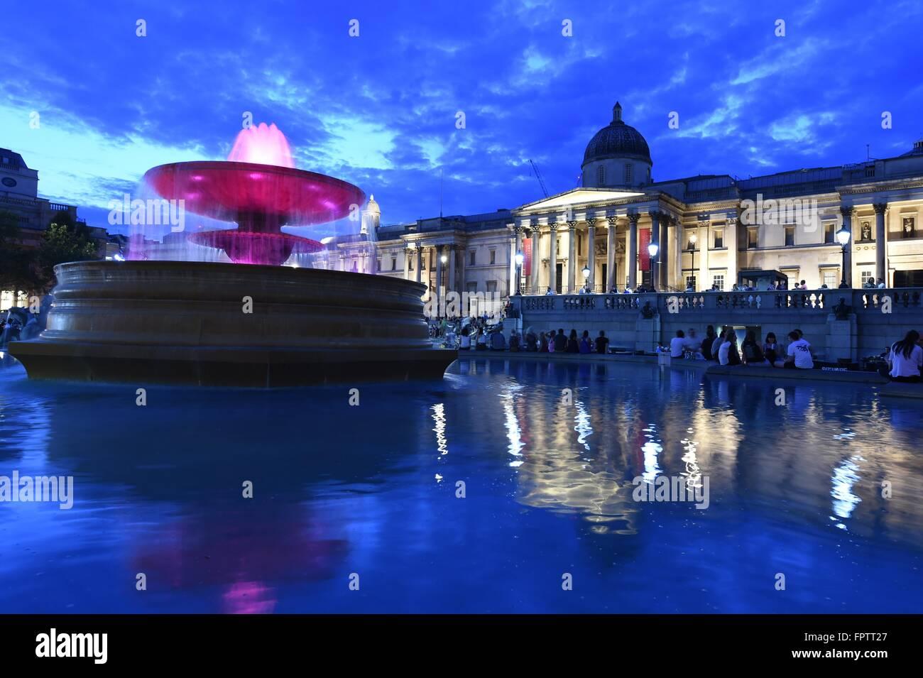 National Gallery, Trafalgar Square, art gallery in London, UK, - Stock Image