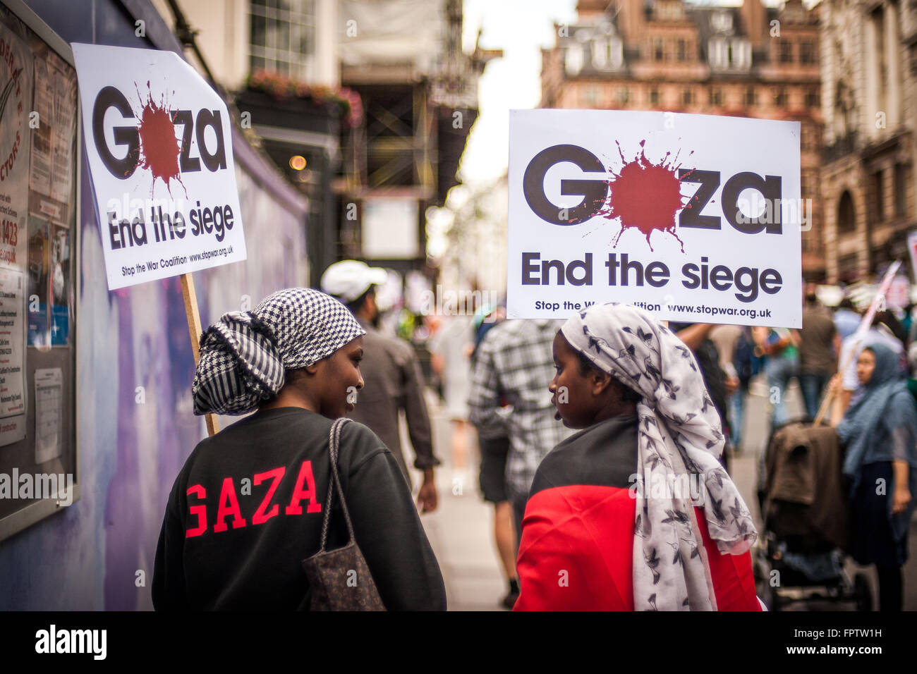 Protesters at Rally for Gaza, July 19, 2014, London - Stock Image