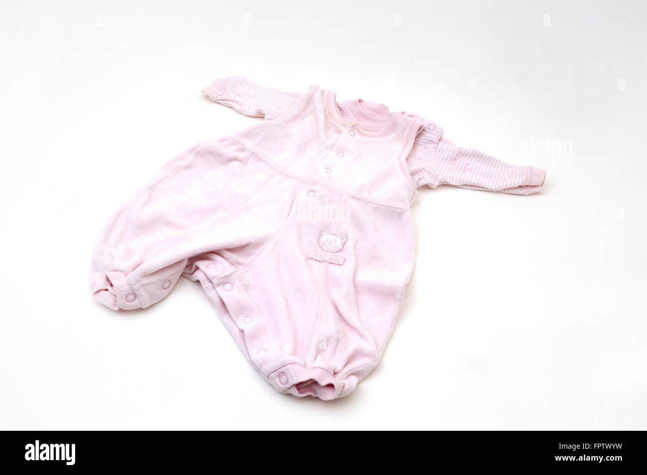 Pink Baby Grow Two Part set Rompers and Top - Stock Image