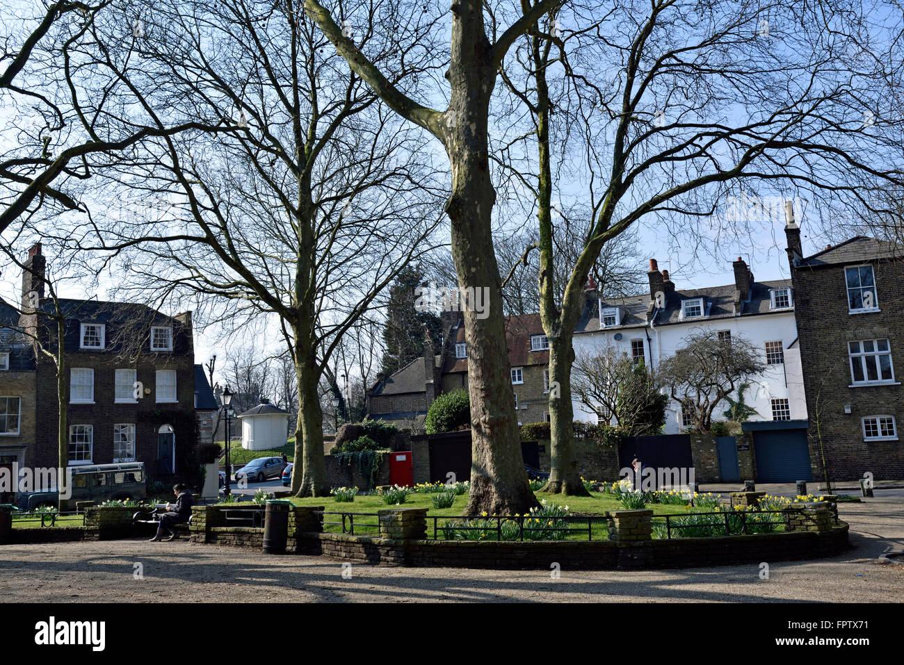 Pond Square in Spring, Highgate Village London England Britain UK Stock Photo