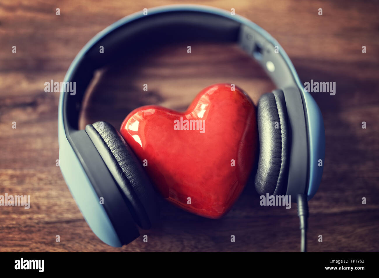 Headphones And Heart Concept For Love Listening To Music Stock Photo 100122459 Alamy