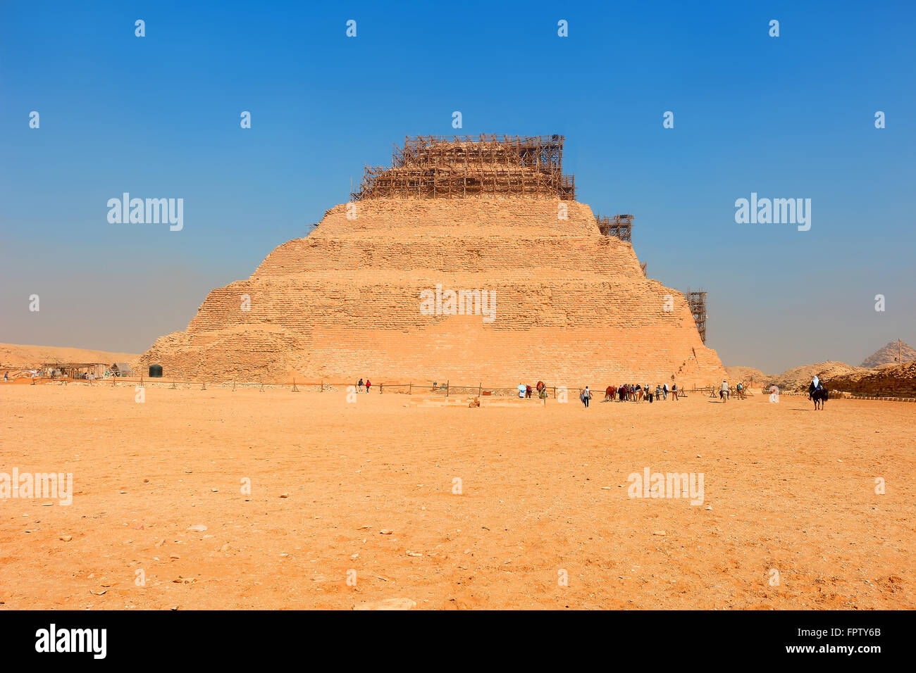 The first prototype step pyramid Djoser  in  Saqqara, Egypt, North Africa - Stock Image