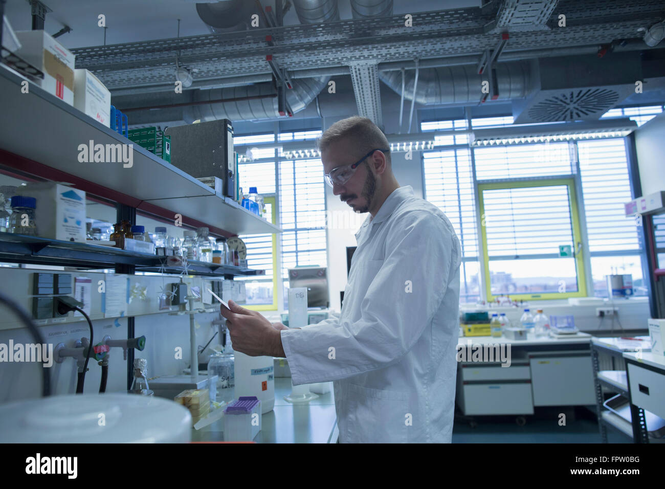 Male scientist working in a pharmacy laboratory, Freiburg Im Breisgau, Baden-Württemberg, Germany - Stock Image