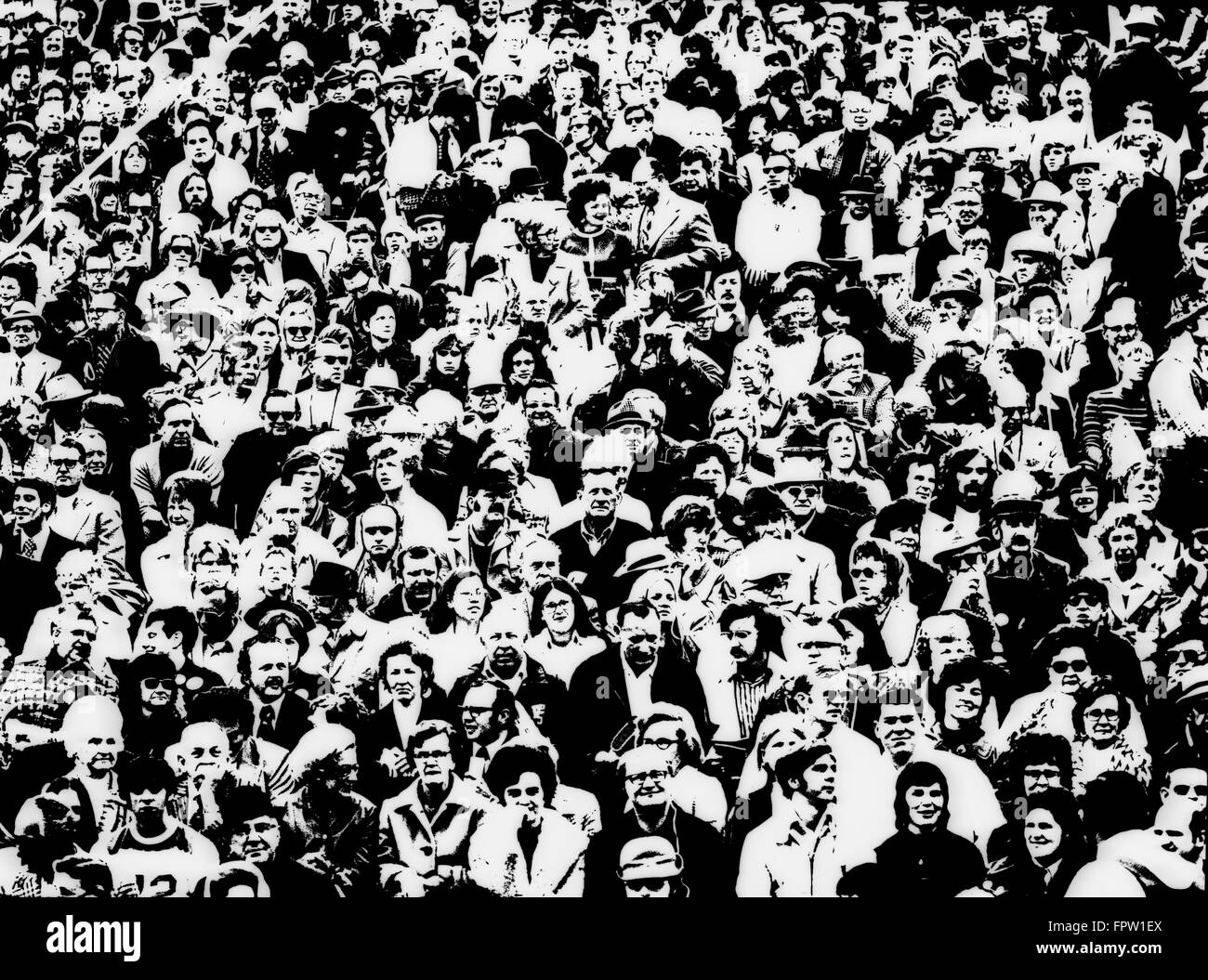 1960s POSTERIZATION OF LARGE CROWD IN SPORTING EVENT BLEACHERS